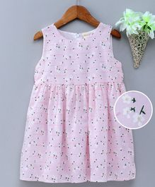 Kookie Kids Sleeveless Frock Floral Print - Pink
