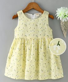 Kookie Kids Sleeveless Frock Floral Print - Yellow