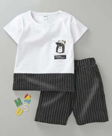 Meng Wa Half Sleeves Tee With Shorts Striped Bear Print - White Black