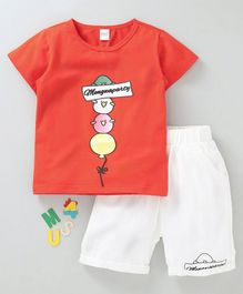 Meng Wa Half Sleeves Tee With Shorts Bird Print - Orange