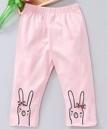 Meng Wa Full Length Lounge Pant Bunny Embroidered - Pink
