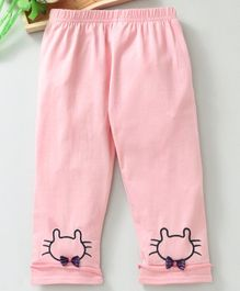 Meng Wa Full Length Lounge Pant Kitty Embroidered - Pink