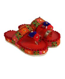 055ecefa92f744 Tahanis Embroidered   Mirror Applique Kolhapuri - Red