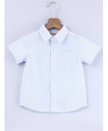 Beebay Striped Half Sleeves Shirt - White & Blue