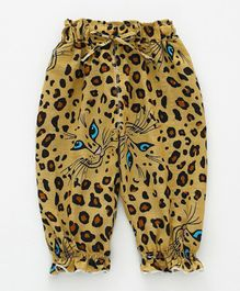 Pre Order - Awabox Leopard Print Full Length Pants - Yellow