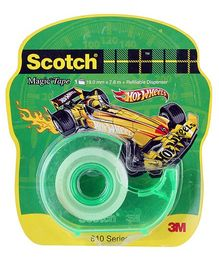 Scotch Magic Tape Hotwheels With Green Refillable Dispenser