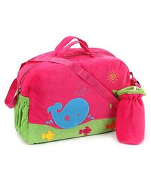 Sapphire Diaper Bag With Bottle Cover Fish Embroidery - Fuchsia Green