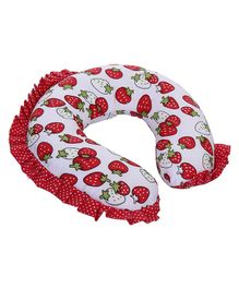 Babyhug Neck Pillow With Frills - Strawberry Print Red