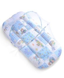 Babyhug Mosquito Net With Mattress And Pillow Blue - Multi Print