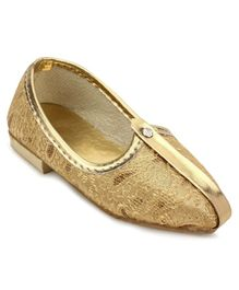 Ethnik's Neu Ron Traditional Mojari Shoes - Golden