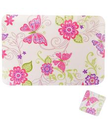 Kidoz Butterfly Print Mat And Coaster - Multicolour