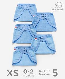 Babyhug U Shape Reusable Muslin Nappy Set Lace Extra Small Pack Of 5 - Blue
