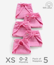 Babyhug U Shape Reusable Muslin Nappy Set Lace Extra Small Pack Of 5 - Pink