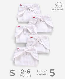 Babyhug U Shape Reusable Muslin Nappy Set Lace Small Pack Of 5 - White