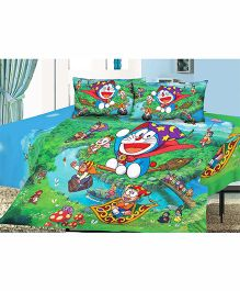 Doraemon Double Bedsheets And 2 Pillow Covers - Green