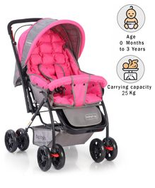 Babyhug Cosy Cosmo Stroller With Reversible Handle - Blush Pink