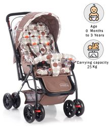 Babyhug Cosy Cosmo Stroller With Reversible Handle - Coffee Brown