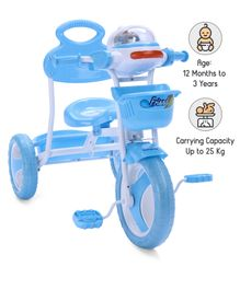 Babyhug Funride Tricycle With Front & Rear Basket  - Light Blue