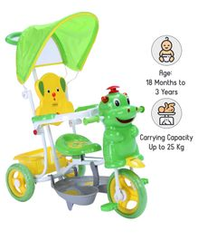 Babyhug Happy Hippo Tricycle With Canopy - Green