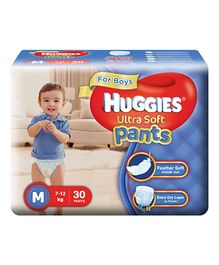 Huggies Ultra Soft Pants Medium Size Premium Diapers For Boys - 30 Pieces