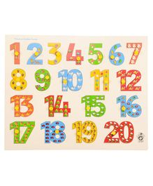 Skillofun Wooden Picture On Number Tray with Knobs 1 to 20