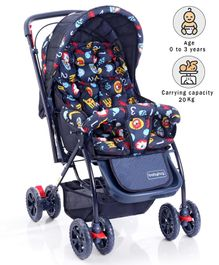 Babyhug Cosy Cosmo Stroller With Reversible Handle Animal Print - Navy Blue
