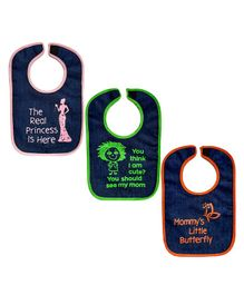 Meukebaby Bibs Multiprint Pack of 3 - Black