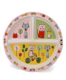 Sugar Booger Divided Suction Plate Cat Print  - Multicolour