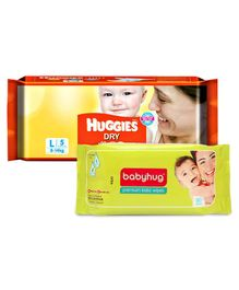Huggies Dry Diapers Large - 5 Pieces (8 - 14 Kg) with Babyhug Premium Baby Wipes - 80 Pieces (Combo Pack of 2)