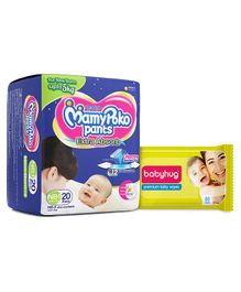 Mamy Poko Pant Style Diaper Extra Small - 20 Pieces with Babyhug Premium Baby Wipes - 80 Pieces(Pack of 2)