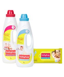 Babyhug Liquid Laundry Detergent - 1000 ml - 1 Qty And Babyhug Liquid Multi Purpose Cleanser - 1000 ml - 1 Qty And Babyhug Premium Baby Wipes - 80 Pieces - 2 Qty