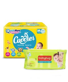 Cuddles Pant Style Diapers Medium - 20 Pieces & Babyhug Premium Baby Wipes - 80 Pieces