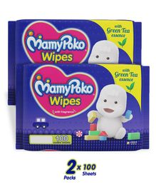 MamyPoko Wipes With Green Tea Essence - 100 Sheets (Pack of 2)