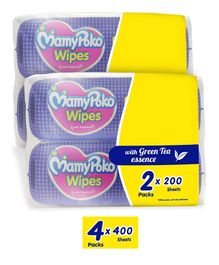 MamyPoko Wipes With Green Tea Essence - 200 Sheets (Pack of 2)