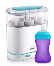 Combo of Avent 3-in-1 Electric Steam Sterilizer & Philips Avent Grippy Soft Spout Sipper Cup Purple - 300 ml