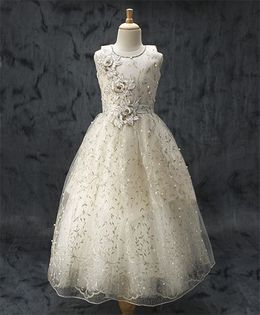 Enfance Flower Applique Embroidered Net Gown - Off White