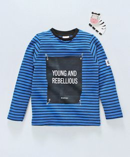 Scampy Young & Rebellious Print Full Sleeves Striped Tee - Blue