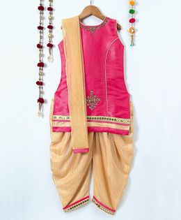 Aarika Sleeveless Embroidered Kurti & Salwar With Dupatta Set - Pink