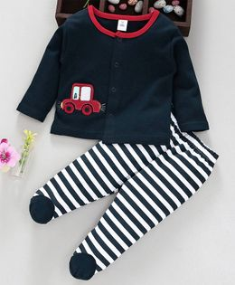 ToffyHouse Full Sleeves Tee & Footed Pants Set Striped & Car Patch - Navy