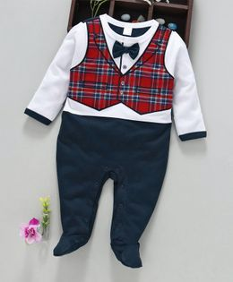 ToffyHouse Full Sleeves Footed Mock Waist Coat Romper With Bow - Red Navy