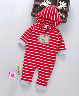ToffyHouse Full Sleeves Stripe Hooded Romper Lion Patch - Red
