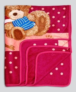 Kidlingss Single Ply Mink Blanket Teddy Bear Print - Majenta