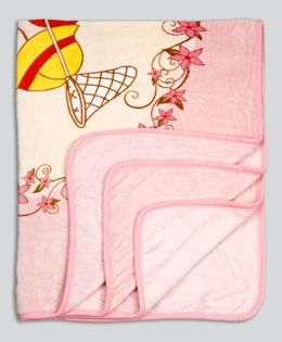 Kidlingss Single Ply Mink Blanket Cute Baby Print - Pink