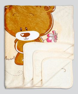 Kidlingss Single Ply Mink Blanket Bear Print - Beige