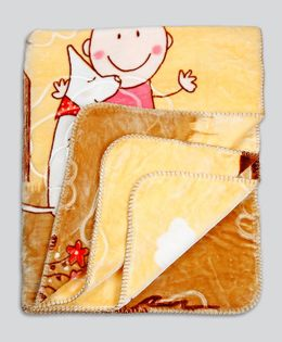 Kidlingss Double Ply Mink Blanket Baby Print - Yellow & Brown