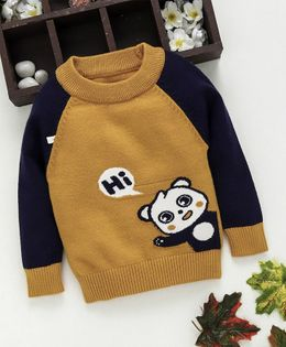 Kookie Kids Panda Design Full Sleeves Sweater - Brown