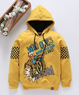 Stupid Cupid Motor Bike Printed Full Sleeves Hoodie - Yellow