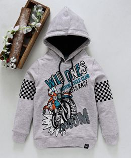 Stupid Cupid Motor Bike Printed Full Sleeves Hoodie - Grey