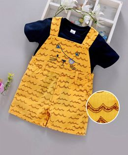 ToffyHouse Corduroy Dungaree Style Romper With Tee Animal Embroidery - Navy Blue Yellow