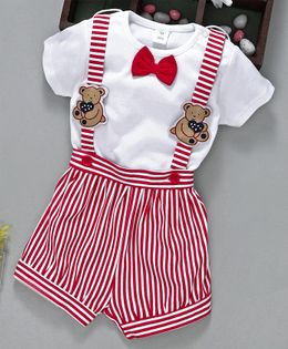 ToffyHouse Stripe Dungaree With Tee Bow Applique - White Red
